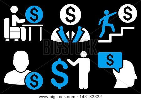 Businessman vector icons. Pictogram style is bicolor blue and white flat icons with rounded angles on a black background.