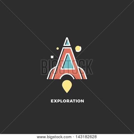 Stylized red rocket. Vector letter A logo. Exploration concept. Design template. Dark background
