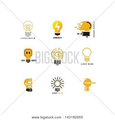 Set of bulb logo. Outline and flat. Power feed and energy supply. Bright ideas, creative thoughts. Vector design template