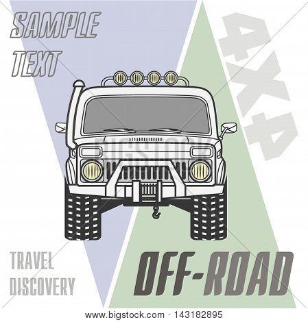 Off road 4x4 car truck banner vector illustration