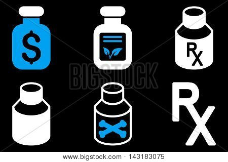 Drugs Vial vector icons. Pictogram style is bicolor blue and white flat icons with rounded angles on a black background.