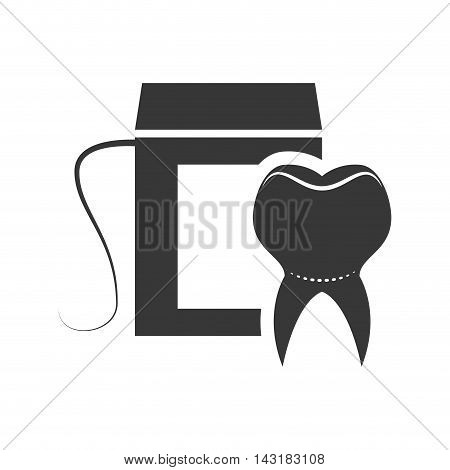 teeth floss dental medical care icon. Flat and Isolated design. Vector illustration