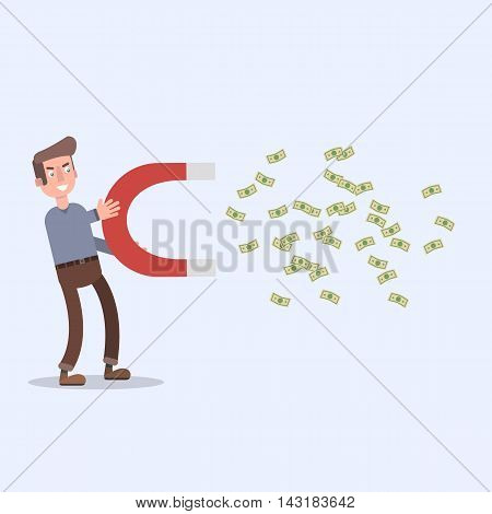 Man holding magnet and fly him money. The metaphor of the money to fly themselves to the man . EPS 10. Flat