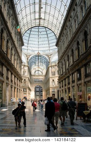 NAPLES, ITALY, MAY 12, 2012:  Interior of Umberto I gallery in the city of Naples