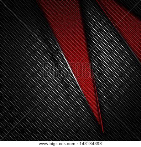 red and black carbon fiber background. 3d illustration material design. racing style.