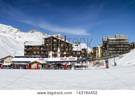 TIGNES FRANCE - FEBUARY 09 2015 : Tignes - Le Clavet-the famous ski resort in Tarentaise french alps France in winter