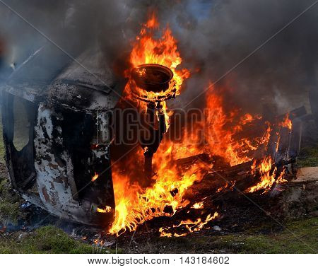 burning car closeup black car Incinerate burns