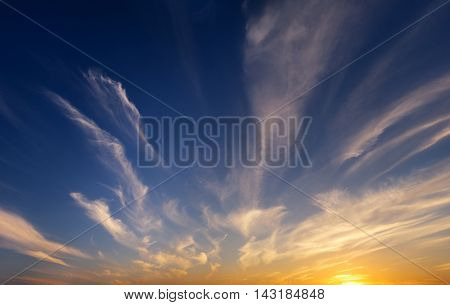 Evening sky background on sunset. Nature composition.