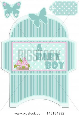 Paper cut out kids envelope and tag for birthday or baby shower invitation envelope template isolated