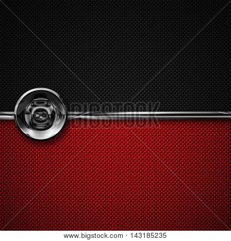 red black carbon fiber and circle chromium frame. metal background. material design. 3d illustration.