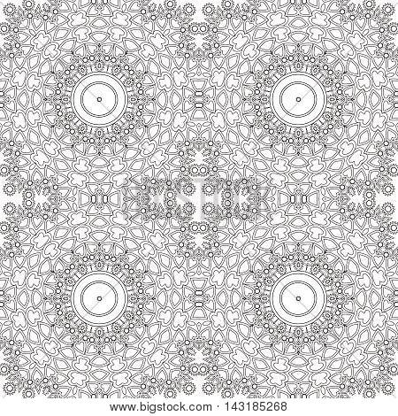 Glass vitrage mosaic kaleidoscopic seamless pattern coloring page