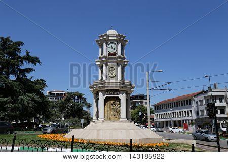 Heykel Clock Tower in Bursa City Turkey