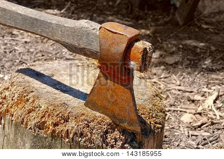 Old rusty axe in chopping board side view