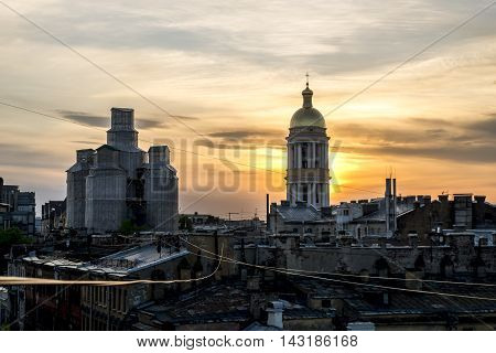 13 may 2016.Saint-Petersburg.The view from the roof of St. Vladimir's Cathedral and the rooftops of the city at sunset.Russia