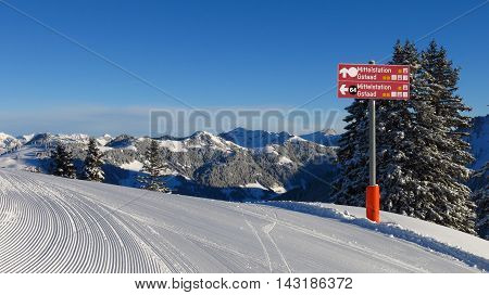 Signboard on top of Mt Wispile ski area in Gstaad.