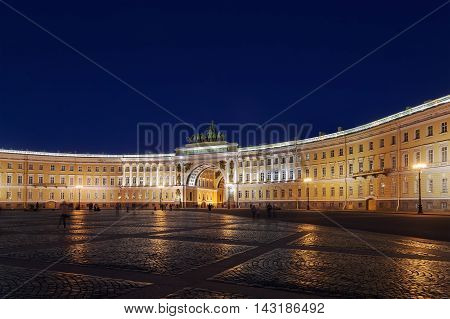 General Staff building (Part of Hermitage Museum) on Palace Square at night, Saint Petersburg