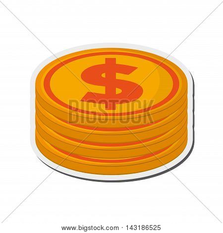 flat design dollar coin stack icon vector illustration