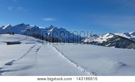 Snow covered mountains near Gstaad Swiss Alps. View from Mt Wispile.