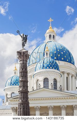 Domes of Trinity (Troitsky) Cathedral and column of Glory in honor of the victory in Russo-Turkish War Saint Petersburg