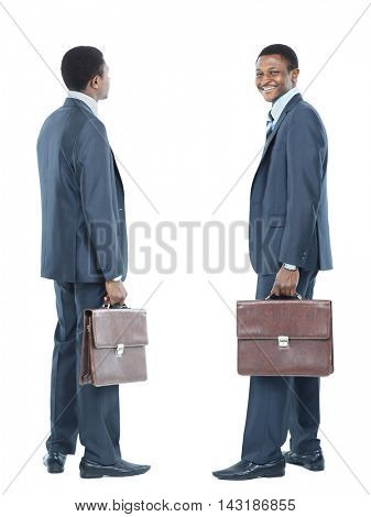African American business man looking at white background