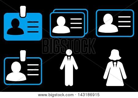 Person Account Card vector icons. Pictogram style is bicolor blue and white flat icons with rounded angles on a black background.
