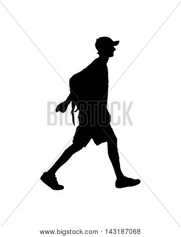 Side view silhouette of slim young man walking with backpack and hat