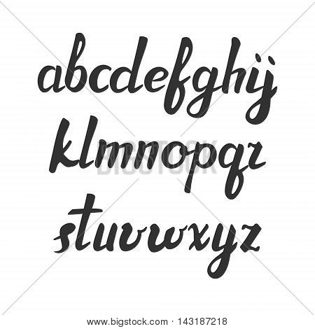 Vector handwritten brush font. Black letters isolated over white. Hand drawn alphabet letters. trendy abc. lowercase. vector illustration