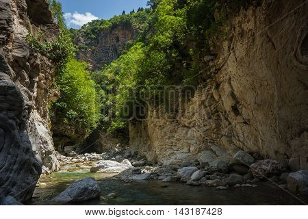 Mountain River Gorge Near Panta Vrexei In Evritania, Greece