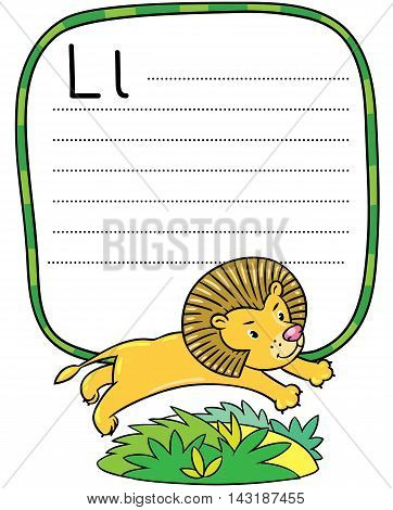 Little Funny Lion For Abc. Alphabet L
