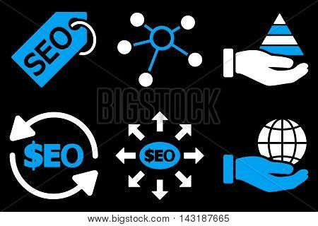 Seo Marketing vector icons. Pictogram style is bicolor blue and white flat icons with rounded angles on a black background.