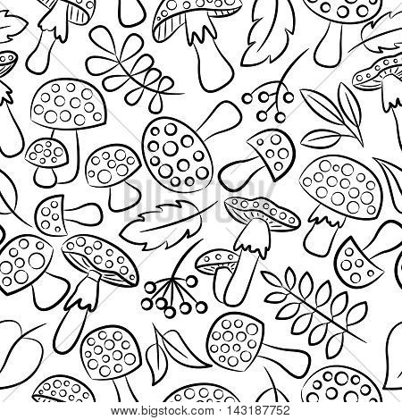 Cute amanita vector seamless pattern with leaf and berries. Poisonus mushrooms doodle style wallpaper.