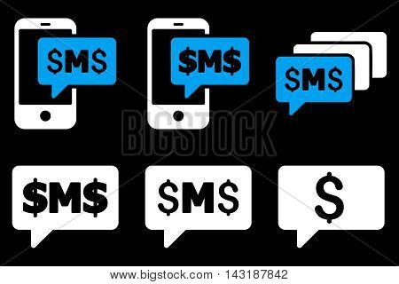SMS Messages vector icons. Pictogram style is bicolor blue and white flat icons with rounded angles on a black background.