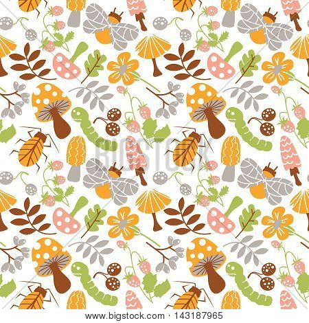 Vector seamless pattern with mushroom strawberry bug warm and leaf. Nature background.