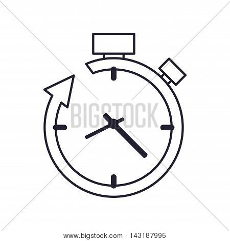 flat design clock and arrow icon vector illustration