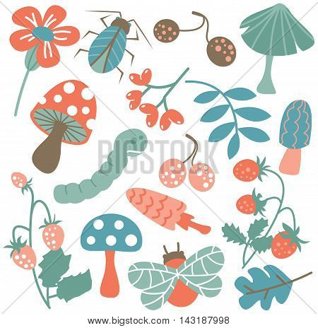 Vector flat icon set with mushroom warm bug strawberry and leaf. Nature colorful collection of childish characters and plants.