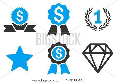 Award vector icons. Pictogram style is bicolor blue and gray flat icons with rounded angles on a white background.