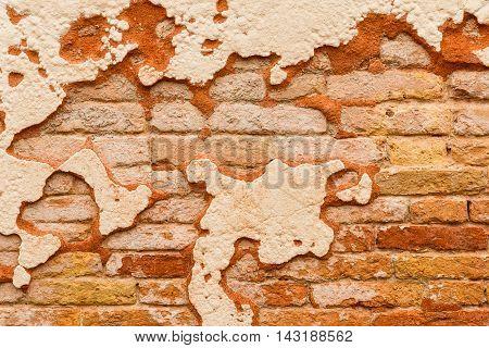 Close Up Brick Wall Broken Plaster