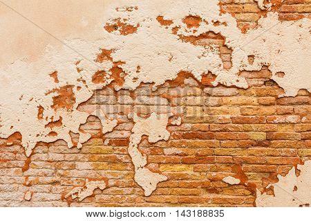 Old Brick Wall Broken Plaster