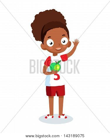 African American school girl vector cartoon character. Cheerful girl in sportswear.