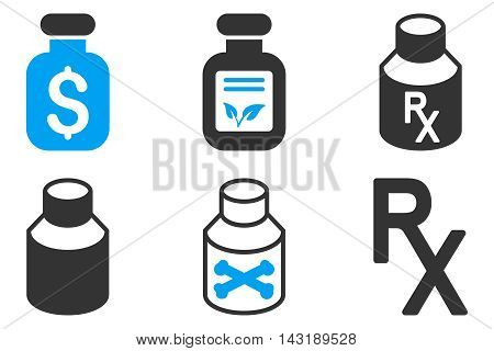 Drugs Vial vector icons. Pictogram style is bicolor blue and gray flat icons with rounded angles on a white background.