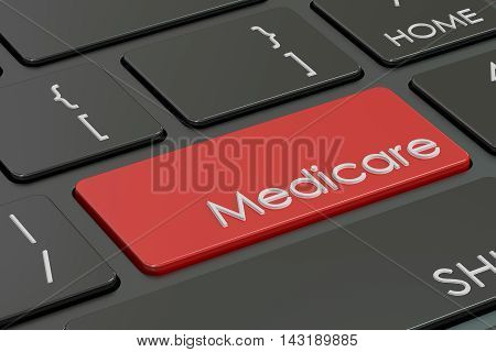 Medicare button red hot key on keyboard 3D rendering