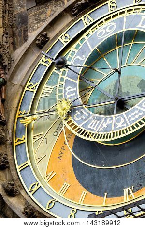 Closeup view of Prague astronomical clock at the Old Town