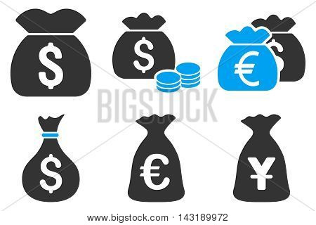 Money Bag vector icons. Pictogram style is bicolor blue and gray flat icons with rounded angles on a white background.