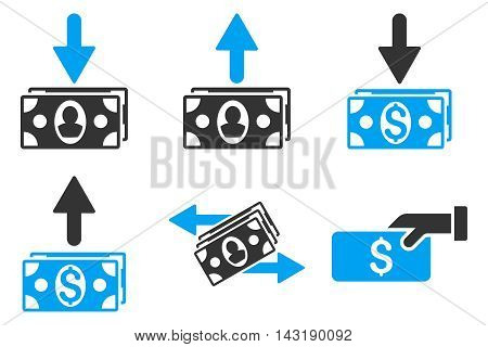 Pay Banknotes vector icons. Pictogram style is bicolor blue and gray flat icons with rounded angles on a white background.