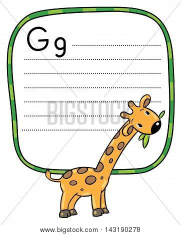 Little Funny Giraffe, For Abc. Alphabet G