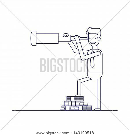 Businessman with lots of money looking through a telescope. The manager seeks investment prospects. Man makes plans for the future. Character in a flat style. Thin line vector illustration