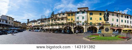 Greve in Chianti Italy - August 2 2016: The Piazza Giacomo Matteotti in the city of Greve in Chianti Tuscany Italy.
