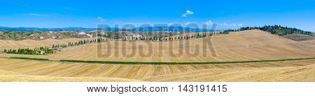 Wide panoramic landscape of Tuscan countryside during summertime.
