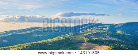 Panoramic landscape of surroundings of the village of Radda in Chianti Tuscany Italy.