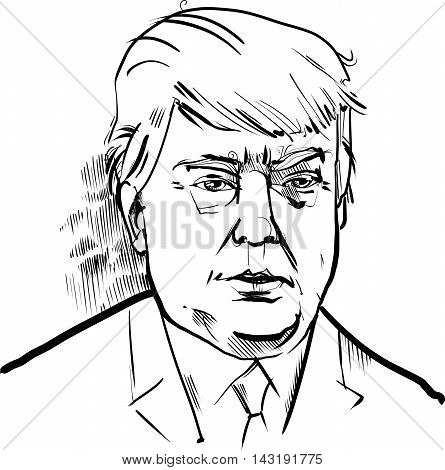 Black and White Drawing Caricature Portrait of Donald Trump USA Presidential Candidate 2016